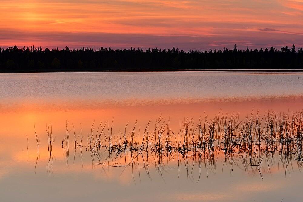 Lake Toras-Sieppi at sunset, Torassieppi, Muonio, Lapland, Finland, September. - 1200-373