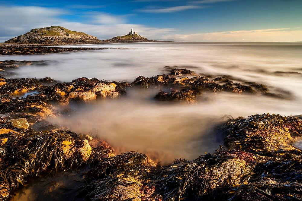 Tidal rock pools and Mumbles lighthouse, Bracelet Bay, Mumbles Head, Gower Peninsula, Swansea, Wales. - 1200-384