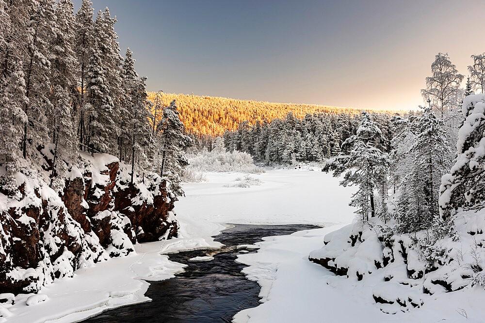 Patoniva River and snow covered winter landscape, Oulanka National Park, Kuusamo, Finland - 1200-393