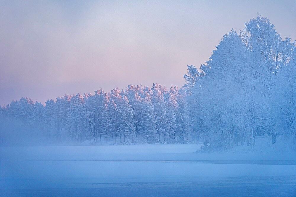 Morning mist over frozen river, River Kitkajoki, Kuusamo, Finland - 1200-394