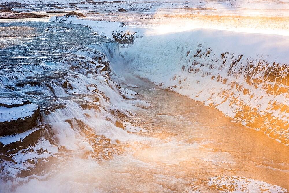 Gullfoss waterfall at dawn, Iceland. - 1200-424