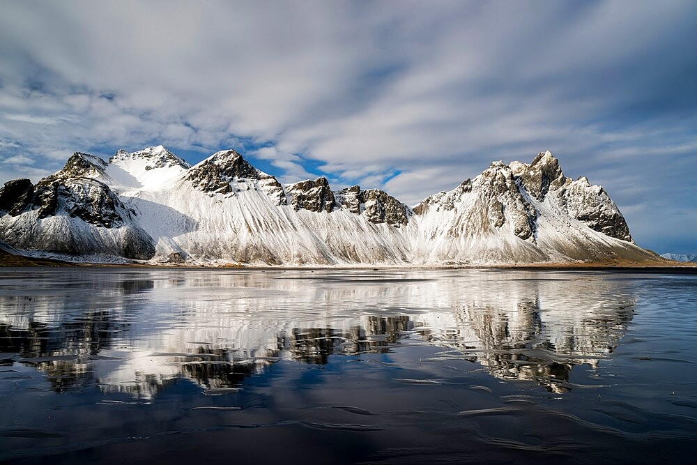 Vestrahorn Mountain reflected in wet sand, Iceland. - 1200-450