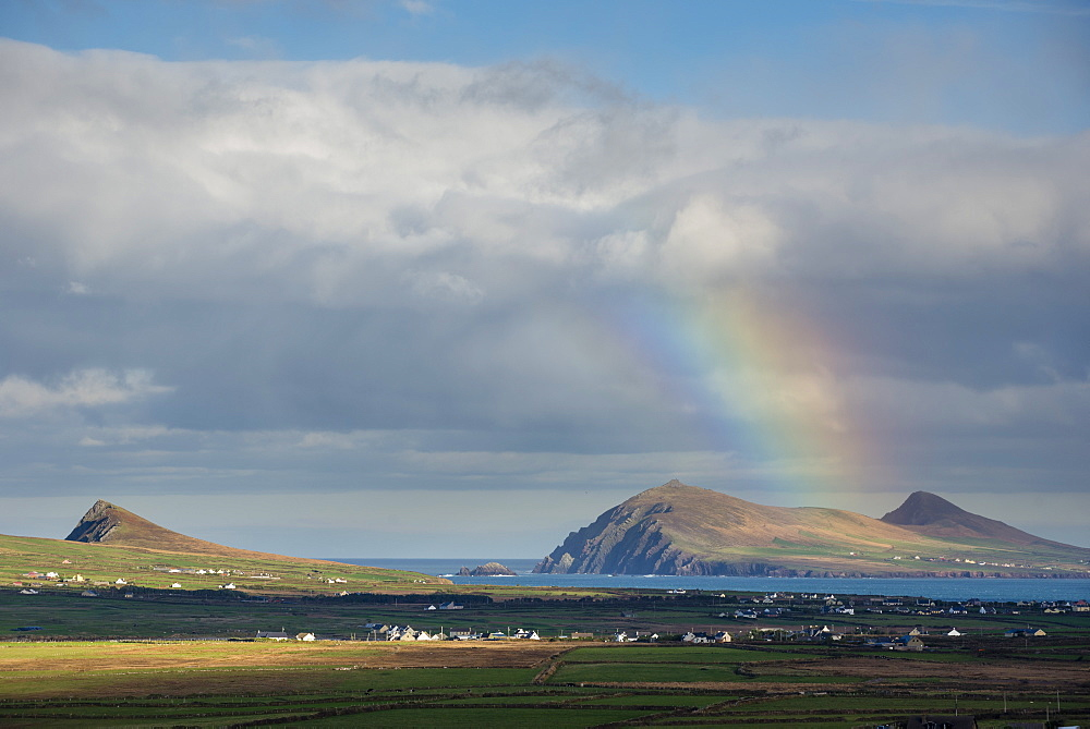 Rainbow over hills and dwellings, looking towards Clogher and Rosroe, Dingle Peninsula, County Kerry, Munster, Republic of Ireland, Europe - 1200-67