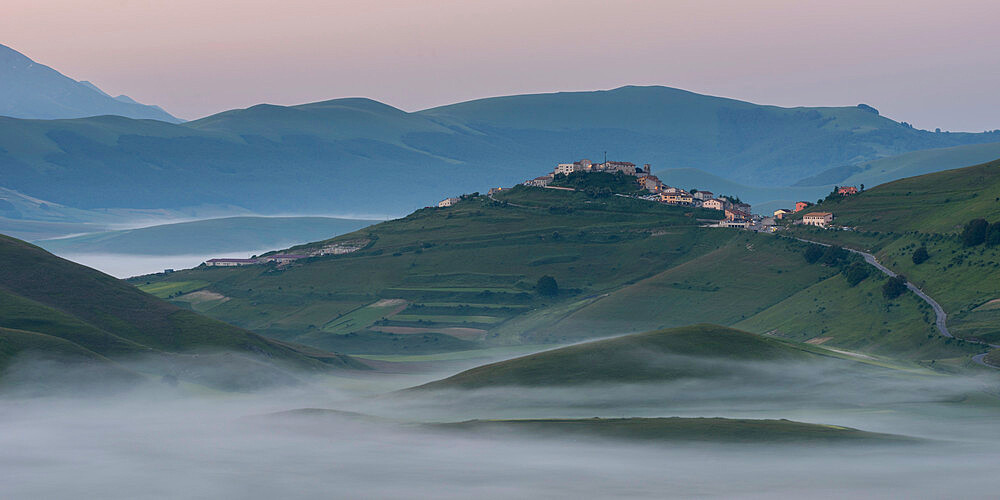 View of the Piano Grande towards Castelluccio, at dawn, Umbria, Italy, Europe - 1200-87