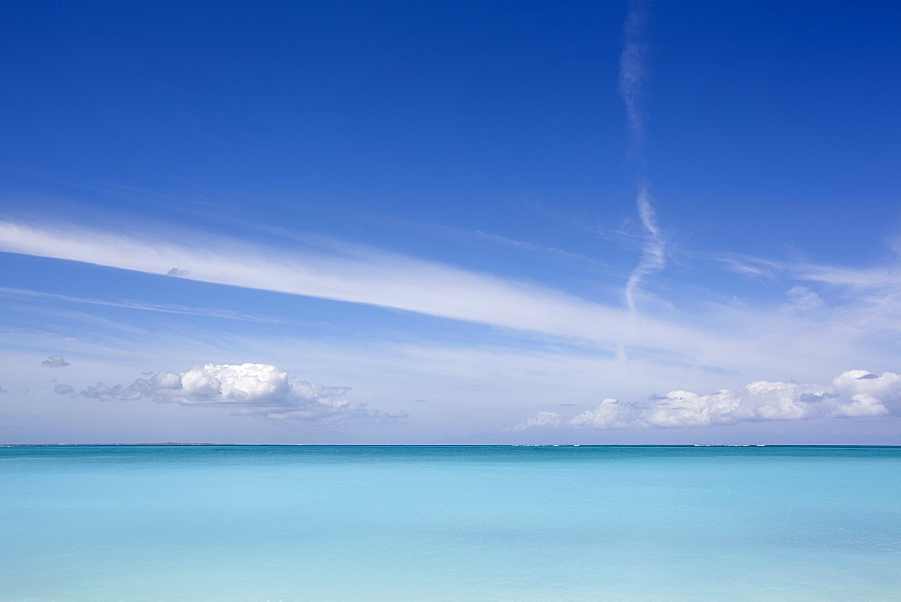 The azure waters of Grace Bay, the main visitor attraction on Providenciales, Turks and Caicos, in the Caribbean, West Indies, Central America
