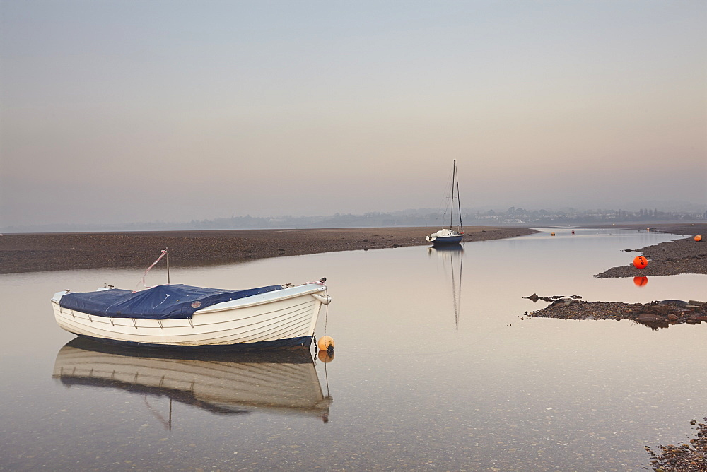 A peaceful, calm evening view of the estuary of the River Exe at low tide, at Exmouth, Devon, Great Britain.