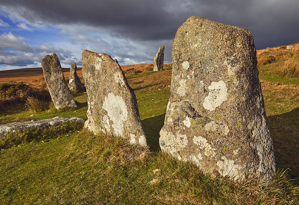 Standing stones at the prehistoric Scorhill Stone Circle, on Gidleigh Common, Dartmoor National Park, Devon, England, United Kingdom, Europe - 1202-172
