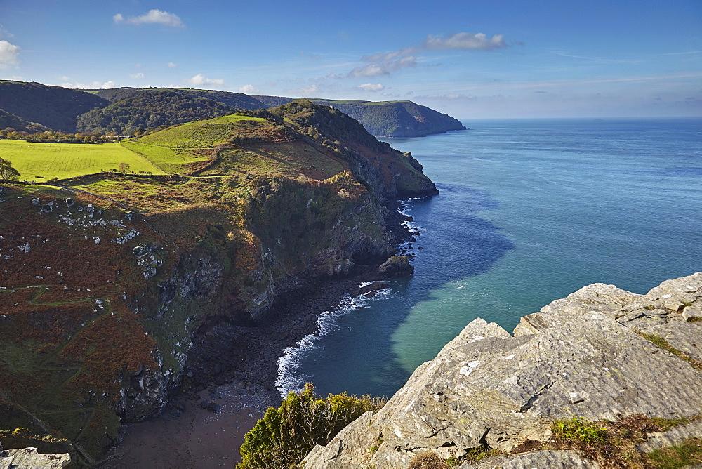 Coastline cliffs at the Valley of Rocks, near Lynton, Exmoor National Park, Devon, England, United Kingdom, Europe - 1202-175