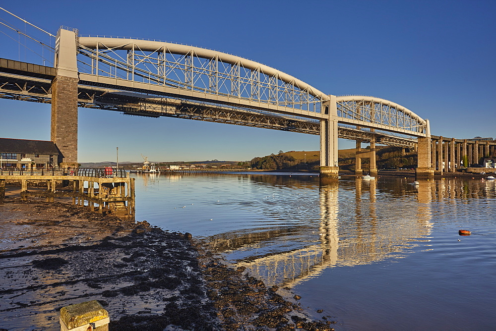 The Tamar Bridges, across the Hamoaze, estuary of the River Tamar, at Saltash, near Plymouth, Cornwall, Great Britain.
