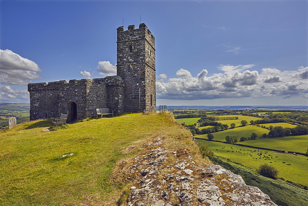 The 13th century St. Michael's Church, on the summit of Brent Tor, a major landmark on the western edge of Dartmoor National Park, Devon, England, United Kingdom, Europe - 1202-191