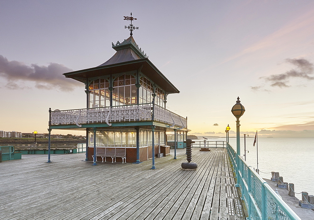 A Victorian pavilion on the restored Clevedon Pier, seen at dusk, Clevedon, North Somerset, England, United Kingdom, Europe - 1202-192