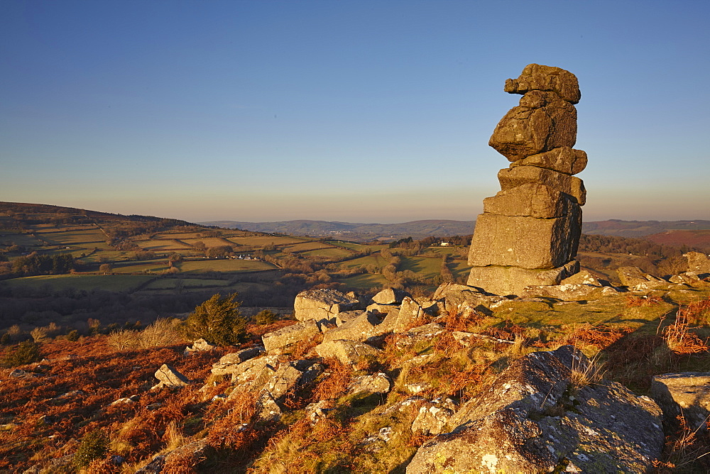A natural granite outcrop seen in low winter sunlight, Bowerman's Nose, Dartmoor National Park, Devon, England, United Kingdom, Europe