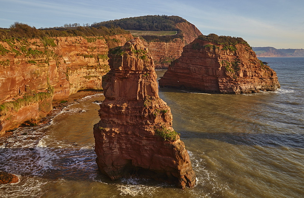 Red sandstone cliffs and rocks at Ladram Bay, in the Jurassic Coast UNESCO World Heritage Site, near Budleigh Salterton, East Devon, England, United Kingdom, Europe