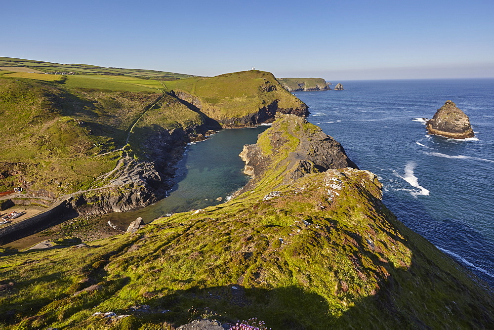 The spectacular cove and harbour at Boscastle, near Tintagel, on the Atlantic coast of north Cornwall.