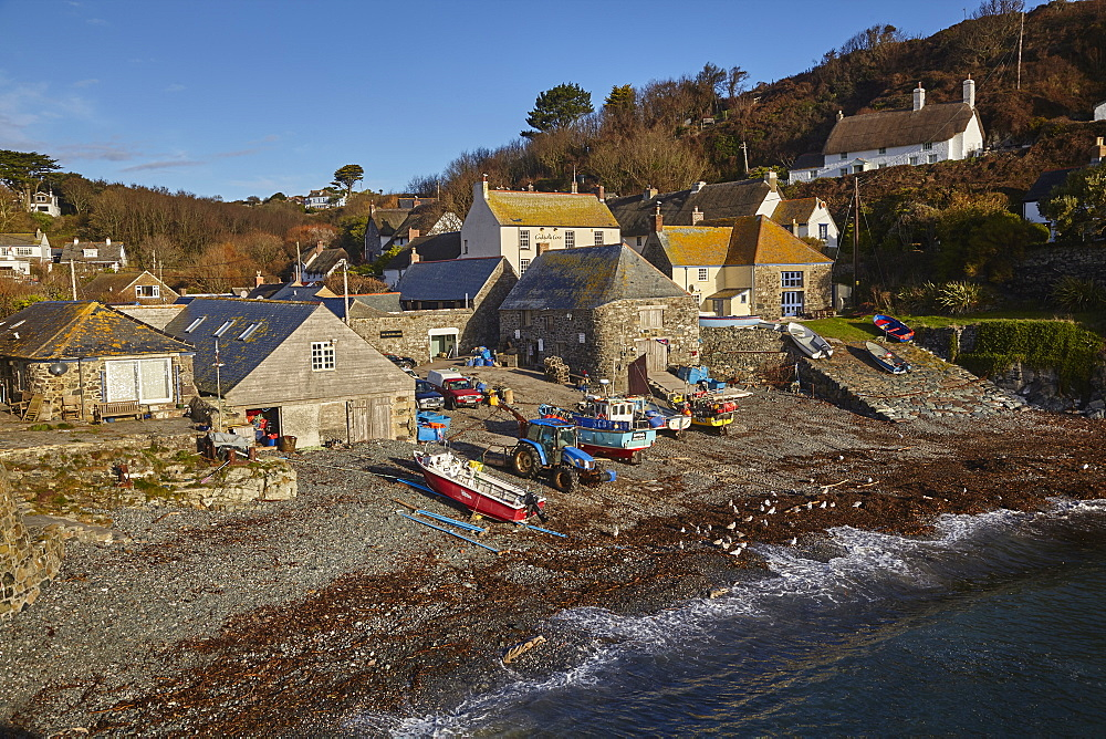 Fishing boats pulled up on the shore at the fishing village of Cadgwith, on the Lizard peninsula, in west Cornwall.