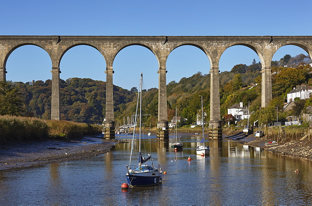 A railway viaduct across the River Tamar, at Calstock, on the Devon-Cornwall border, in east Cornwall, England, United Kingdom, Europe