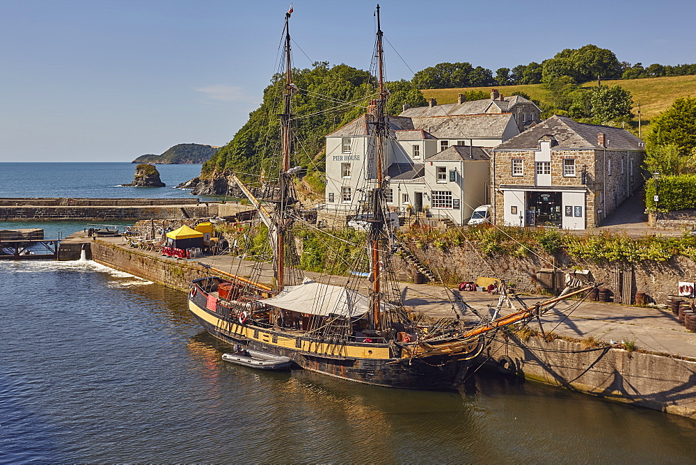 The harbour at Charlestown, near St Austell, on Cornwall's south coast, used for movie sets, especially TV drama Poldark, Charlestown, Cornwall, England, United Kingdom, Europe