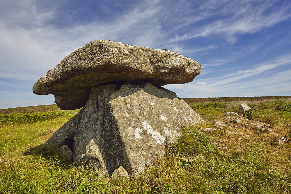 Granite blocks in the prehistoric remains of a Neolithic burial chamber, Chun Quoit, near Morvah, near Penzance, in the west of Cornwall, England, United Kingdom, Europe