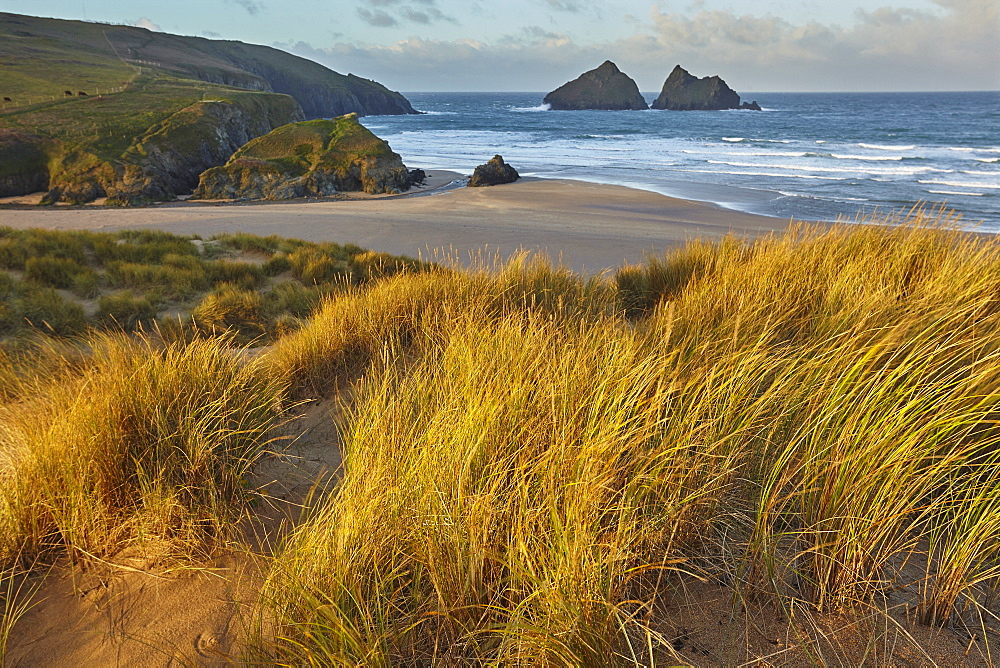 Sand dunes at Holywell Bay, a place made famous by BBC drama 'Poldark', near Newquay, north Cornwall.