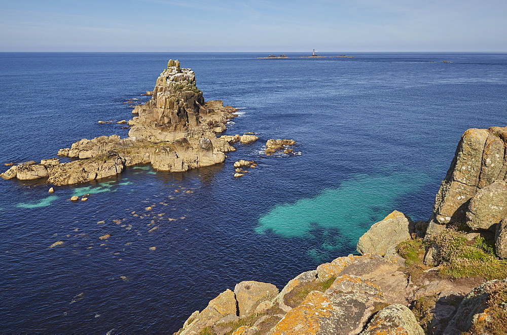 The Armed Knight, a rocky islet off Land's End, Britain's most southwesterly point, in calm summer weather, west Cornwall, England, United Kingdom, Europe