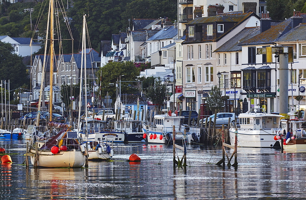 The well-known fishing harbour at Looe, on Cornwall's south coast, seen in early morning sunlight.