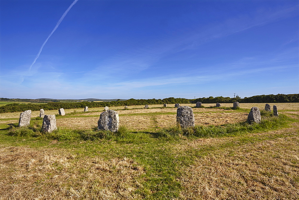 Prehistoric stone circle, Merry Maidens, in a field near Mousehole, near Penzance, west Cornwall, England, United Kingdom, Europe