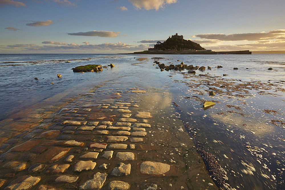 An evening view of St Michael's Mount, one of Cornwall's most iconic landmarks, in Marazion, near Penzance, in west Cornwall.