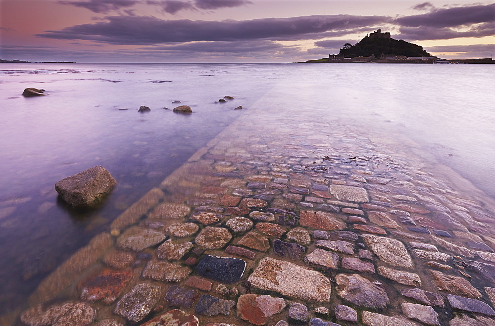 A dusk view of St. Michael's Mount, one of Cornwall's most iconic landmarks, in Marazion, near Penzance, in west Cornwall, England, United Kingdom, Europe - 1202-327