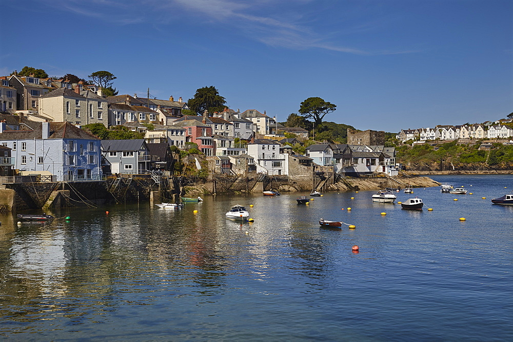 The riverside village of Polruan, in the mouth of the River Fowey, near the town of Fowey, southern Cornwall.