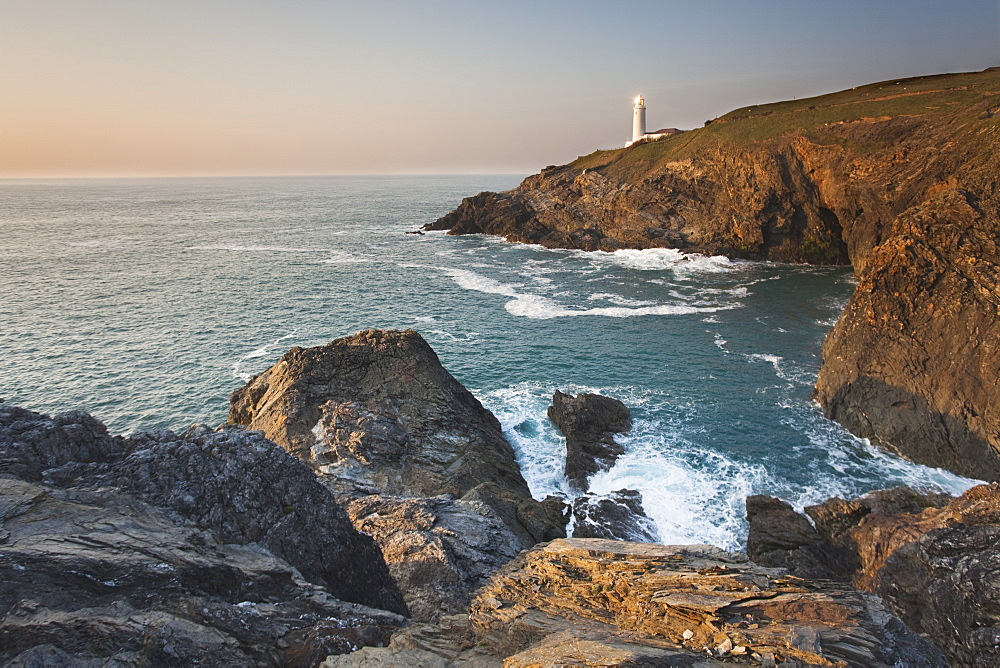 A peaceful dusk on Cornwall's Atlantic coast, showing the lighthouse at Trevose Head, near Padstow.
