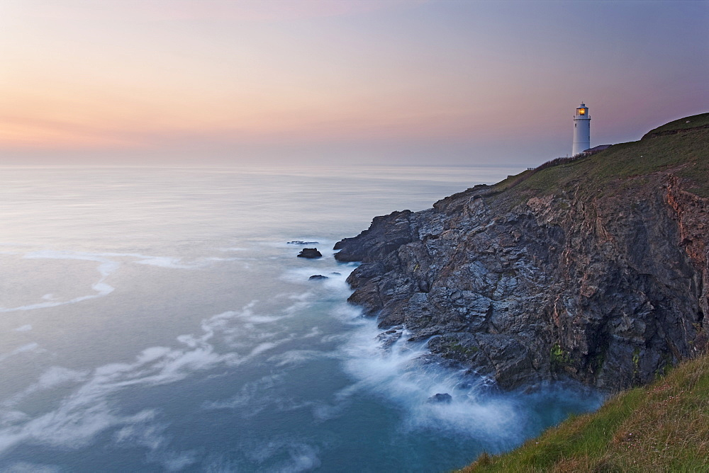 A peaceful dusk on Cornwall's Atlantic coast, showing the lighthouse at Trevose Head, near Padstow. - 1202-352