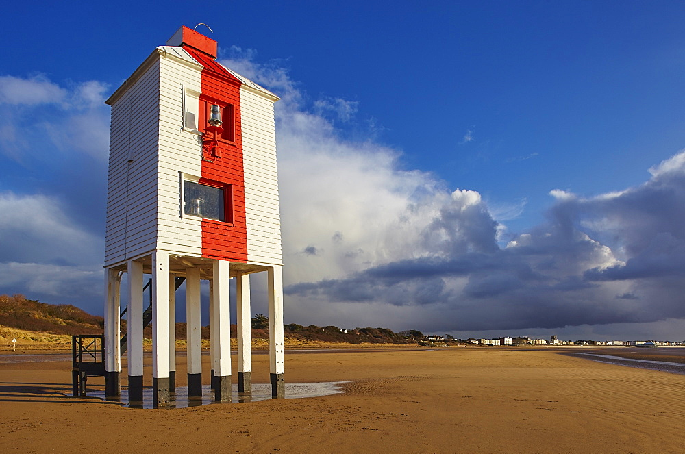 The 19th century wooden Low Lighthouse on the beach at Burnham-on-Sea, on the Bristol Channel coast of Somerset, Great Britain.