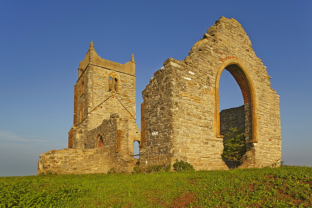 The ruins of St Michael's Church on the summit of Burrow Mump, a small hill at Burrowbridge, in the Somerset Levels, Somerset.