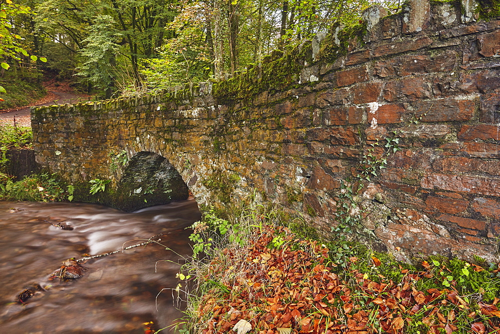 An ancient packhorse bridge at Marsh Bridge, near Dulverton, in Exmoor National Park, Somerset, Great Britain.
