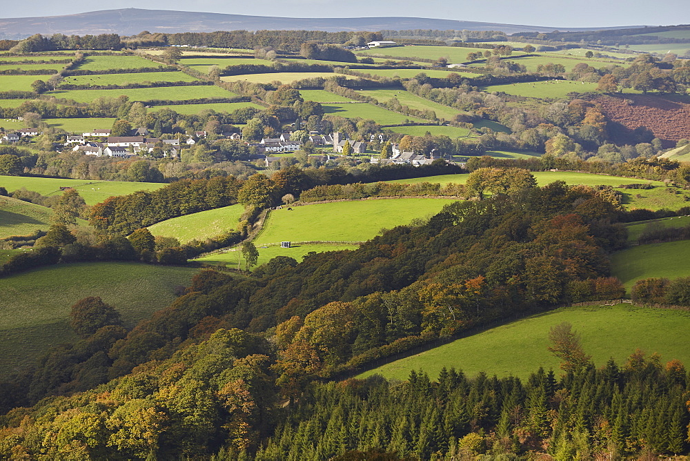 Rolling farmland and the village of Brompton Regis, near Wimbleball Lake, in Exmoor National Park, in Somerset, Great Britain.
