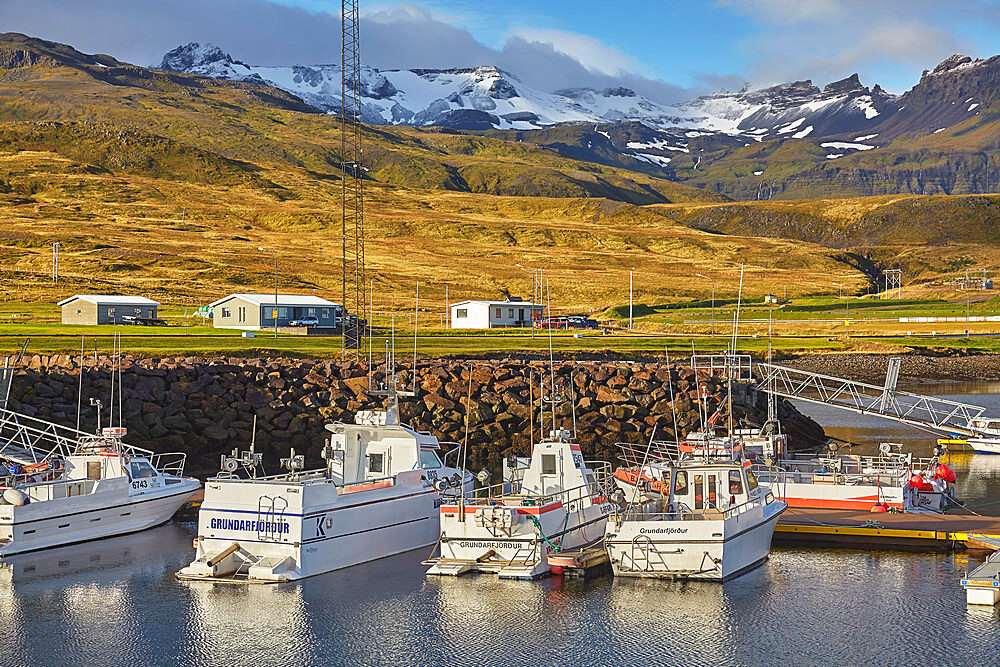 Fishing boats in the harbour at Grundarfjordur, with a mountainous backdrop, on the Snaefellsnes peninsula, west Iceland, Polar Regions - 1202-418