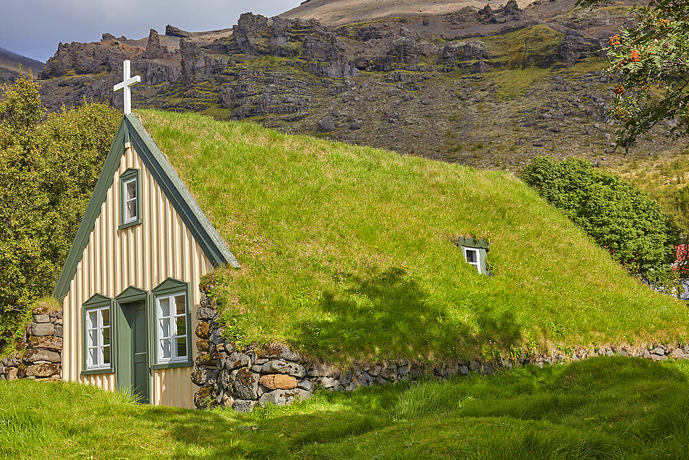 Historic Icelandic architecture, an 18th century church at Litla Hof, near Skaftafell, near the south coast of Iceland, Polar Regions - 1202-434