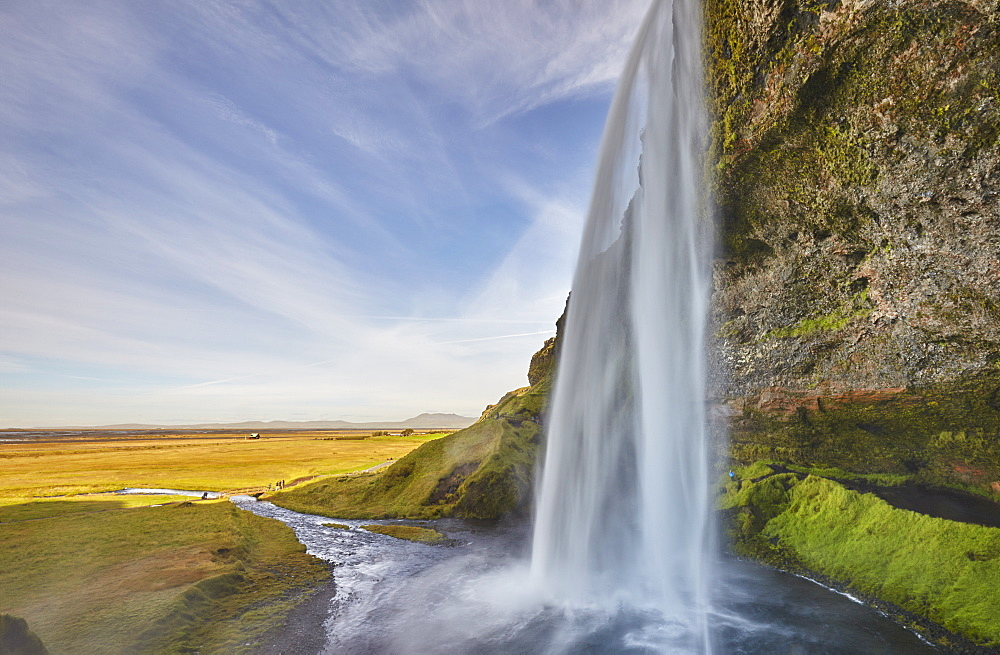 A spectacular sheer waterfall, Seljalandsfoss Falls, near Vik, near the south coast of Iceland, Polar Regions - 1202-440