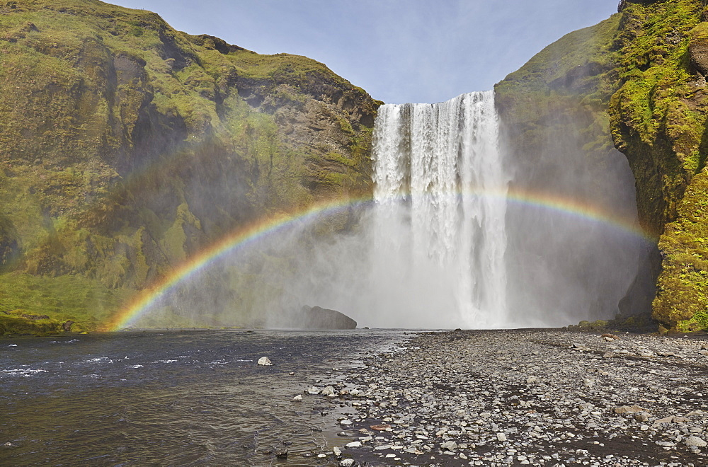 A permanent rainbow in waterfall spray, Skogafoss Falls, near Vik, southern Iceland, Polar Regions - 1202-444