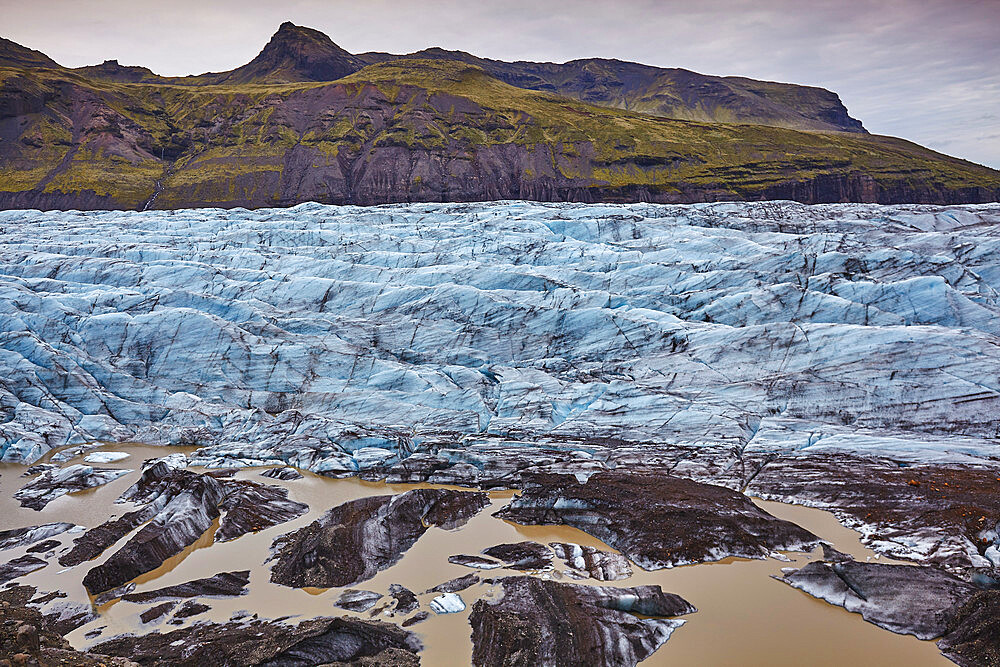 Melting ice at the foot of a retreating glacier, Svinafellsjokull, Skaftafell National Park, southern Iceland, Polar Regions - 1202-449