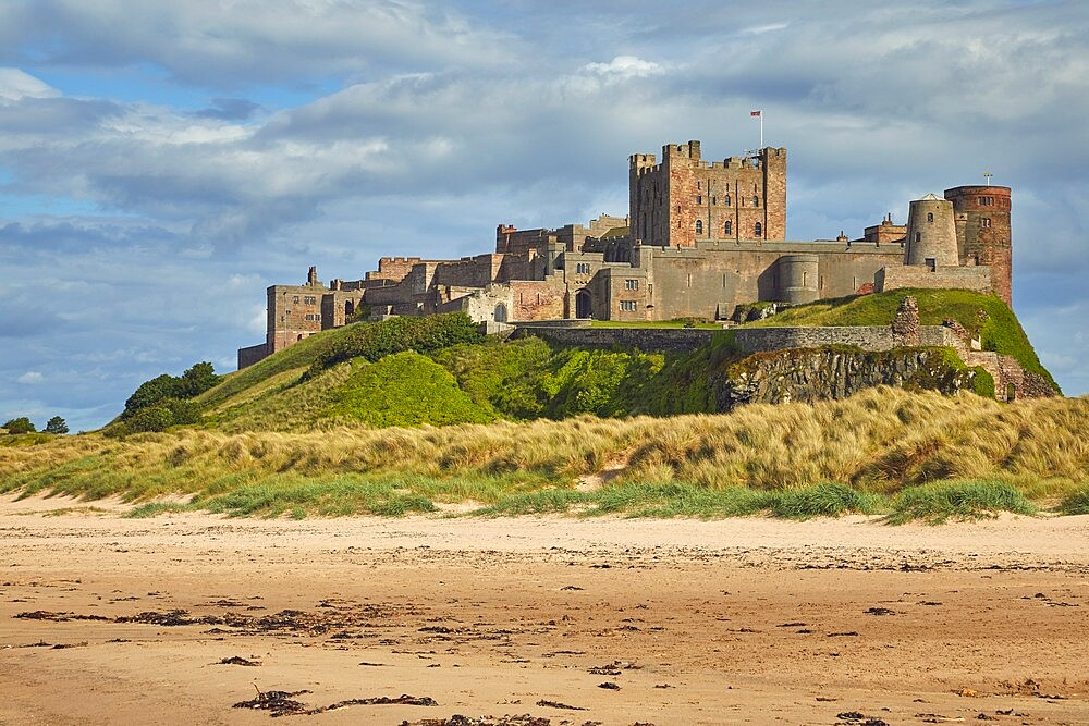 Bamburgh Castle and its beach, at Bamburgh, near Seahouses, Northumberland, England, United Kingdom, Europe - 1202-472