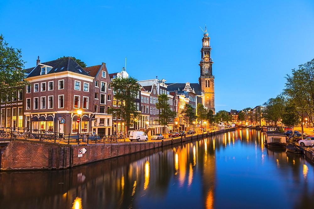 Prinsengracht canal and Westerkerk, Amsterdam, Netherlands - 1207-115