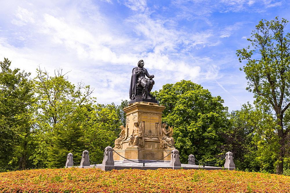 Statue of Joost Van Den Vondel in Vondelpark, Amsterdam, Netherlands, Europe