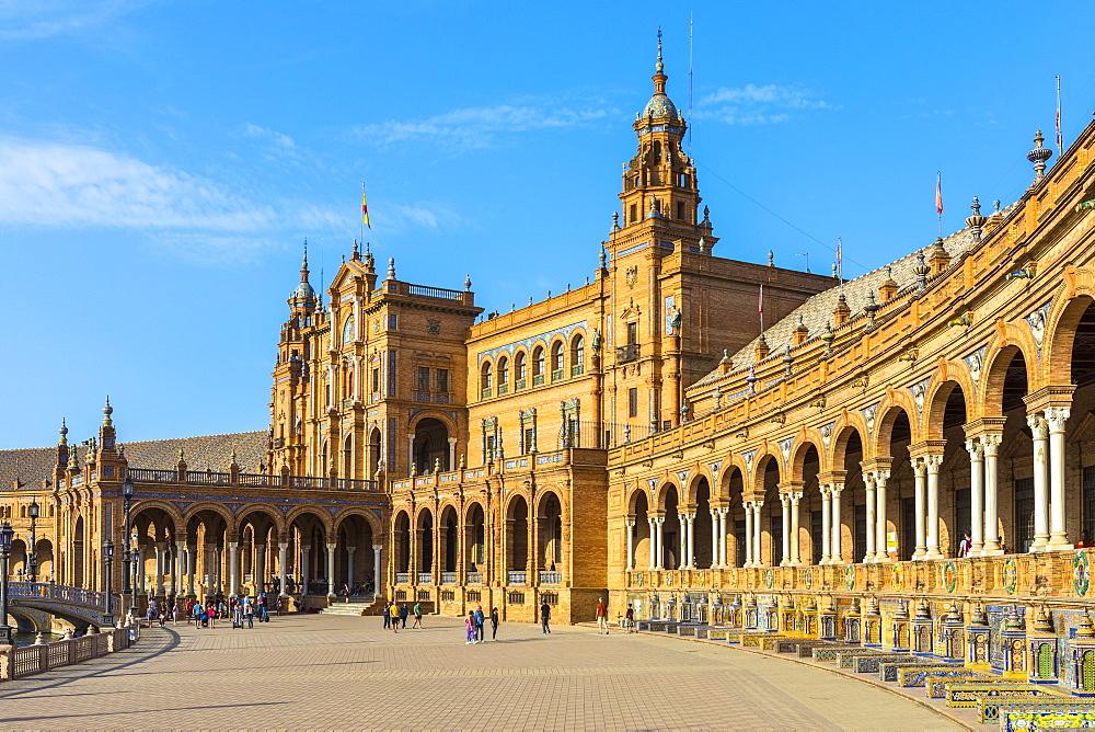 Plaza de Espana, built for the Ibero-American Exposition of 1929, Seville, Andalucia, Spain, Europe - 1207-223