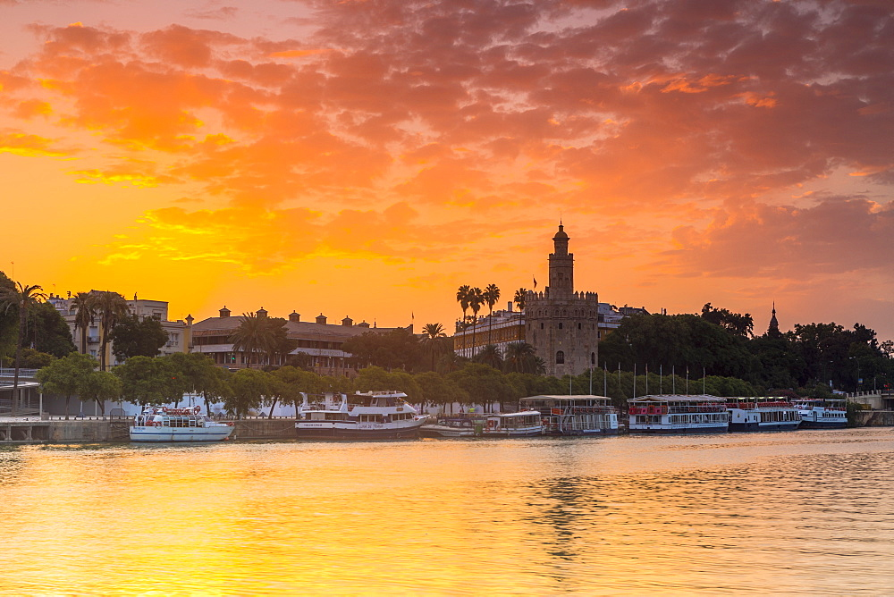 Torre del Oro (Gold Tower) at sunrise, Seville, Andalusia, Spain, Europe - 1207-227