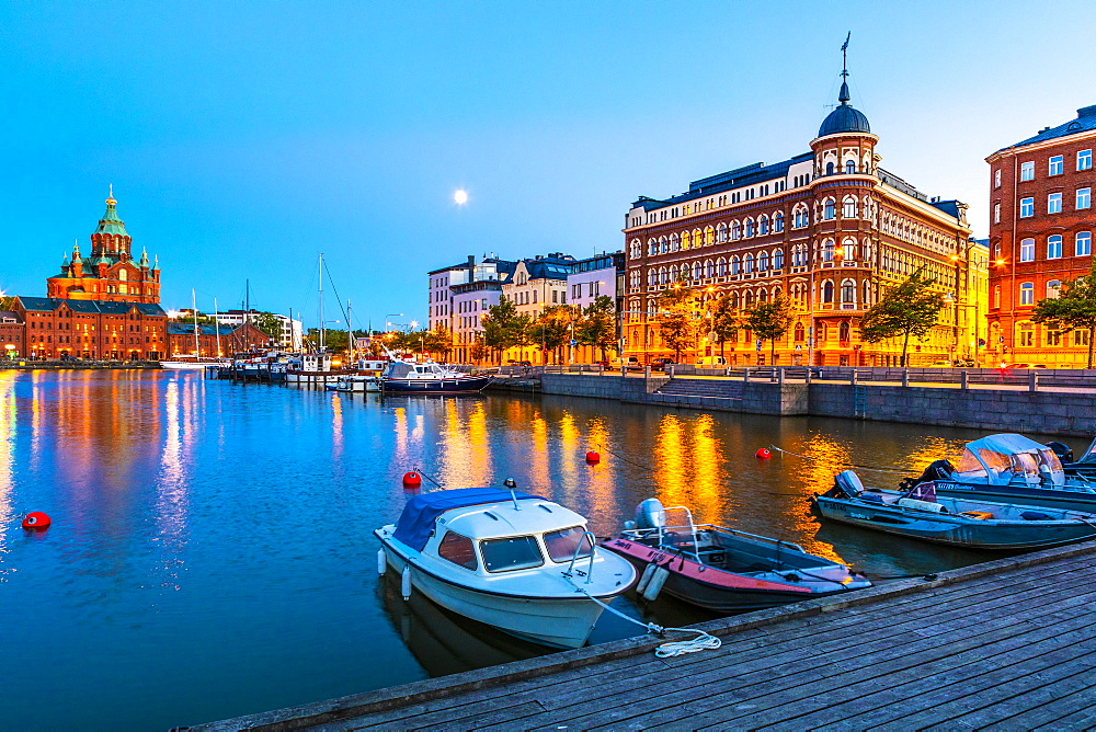 Harbor at sunset in Helsinki, Finland, Europe