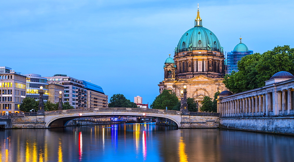 Berliner Dom (Berlin Cathedral) on the River Spree at night, Berlin, Germany, Europe - 1207-556