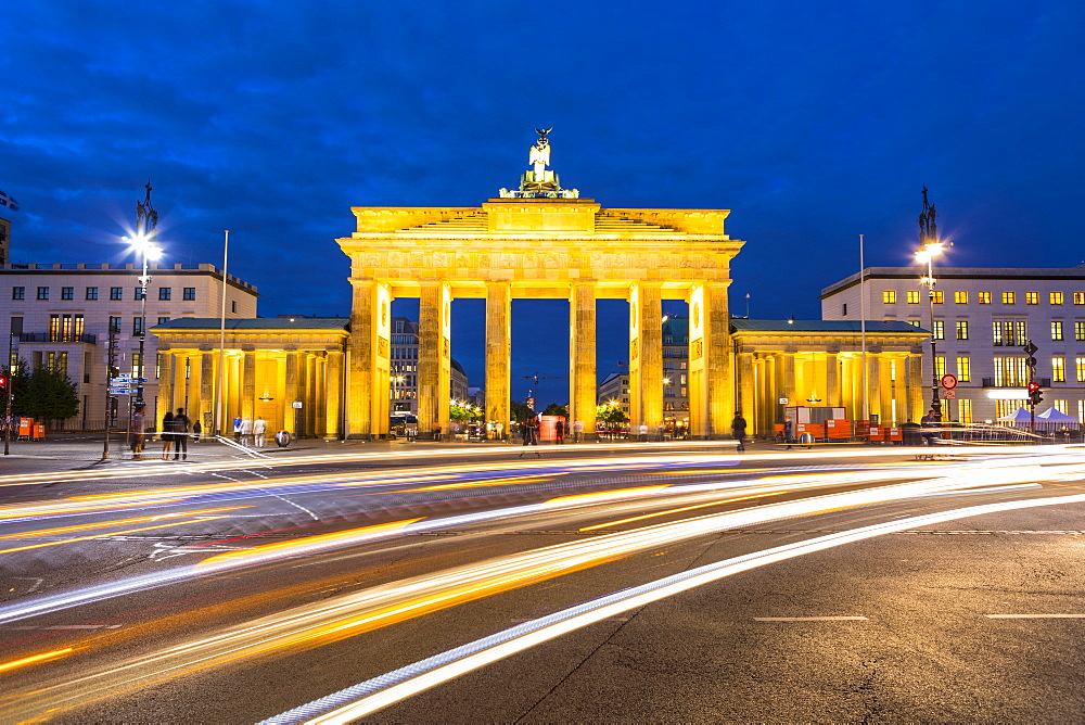 Brandenburg Gate at night, Berlin, Germany, Europe - 1207-571