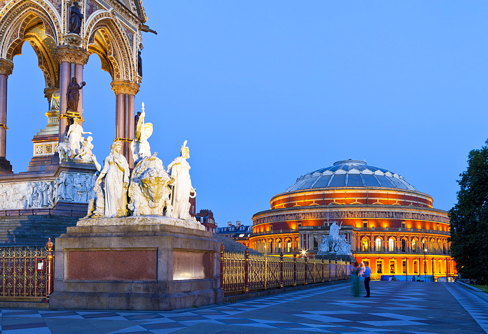 The Albert Memorial and Albert Hall in early evening light, London, England, United Kingdom, Europe - 1207-578