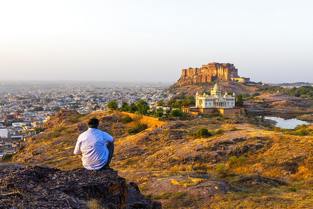 Jaswant Thada and Meherangarh Fort in Jodhpur, Rajasthan, India, Asia
